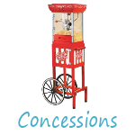 Food Concessions, Popcorn, Snow Cones, Cotton Candy
